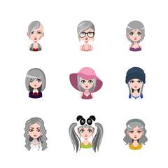 Women avatar with gray hair #2