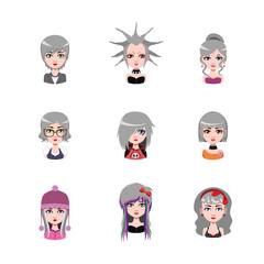 Women avatar with gray hair #1