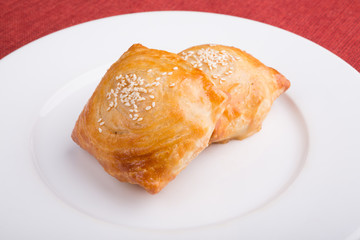 Baked samosa on a plate