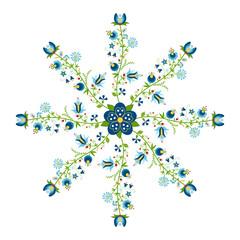 Okrągły wzór ludowy - kwiaty i liście