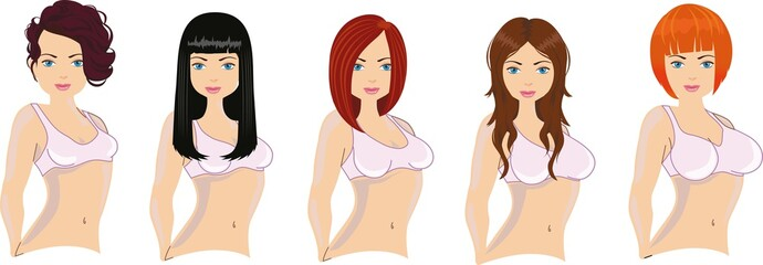 Different woman haircuts and breast sizes