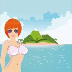 Sexy girl with orange hair advertising beach vacation