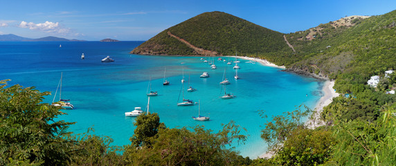 Foto auf Leinwand Karibik Tropical shoreline in British Virgin Island (BVI), Caribbean