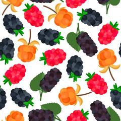 Seamless pattern with mulberries, blackberries, cloudberries and raspberries