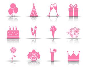 Geburtstag Iconset - Pink (Schatten)