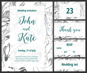 Mint wedding invitation printable template set