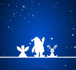 Weihnachten Engel, Weihnachtsmann und Elch