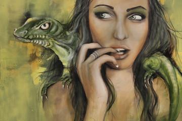 Frau Mit Krokodil