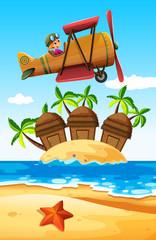 Girl flying plane over the island