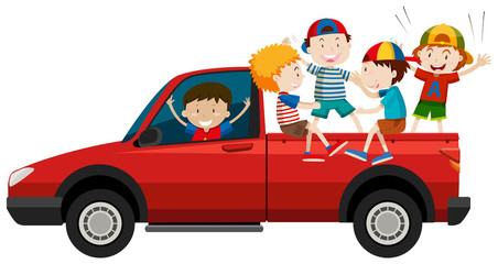 Children riding on pick up truck