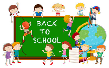 Back to school theme with kids and board
