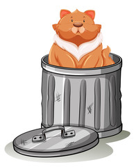 Fat cat sitting in trashcan