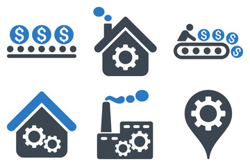 Fototapeta Industrial Production vector icons. Icon style is bicolor smooth blue flat symbols with rounded angles on a white background. obraz