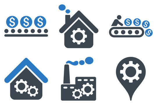Industrial Production vector icons. Icon style is bicolor smooth blue flat symbols with rounded angles on a white background.