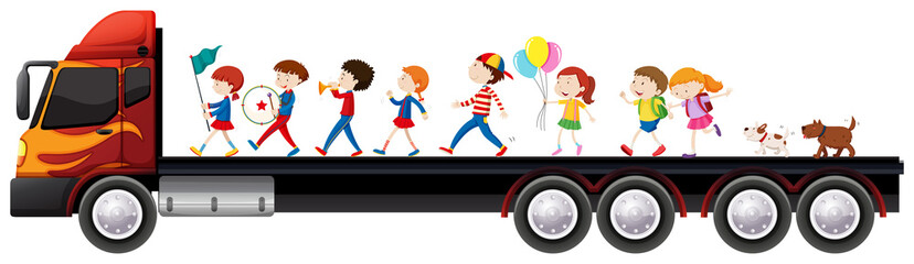 Children in the band on lorry truck