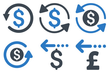 Refund vector icons. Icon style is bicolor smooth blue flat symbols with rounded angles on a white background.