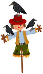Scarecrow on stick and three crows