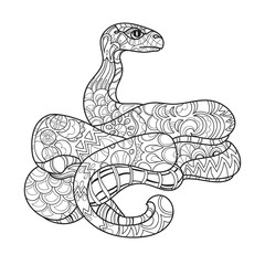 Hand drawn doodle outline anaconda.