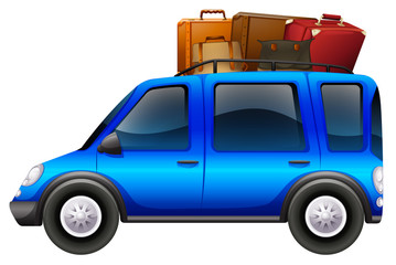 Blue car loaded with luggages