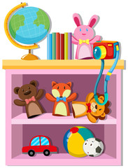 Toys and books on shelf