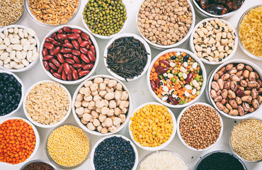 Variety of legumes and rices