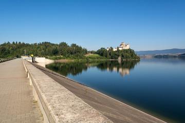 A view from dam in Niedzica of medieval Dunajec castle. Pieniny Mountains, Poland