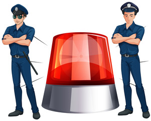 Police officers and siren light