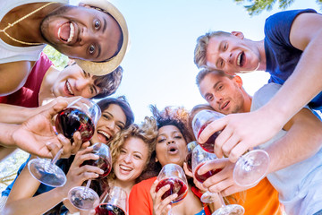 group of friends huddle, cheers with wine glasses