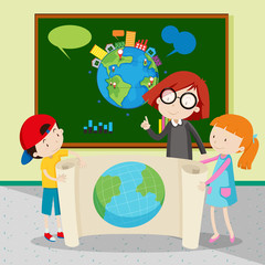 Students holding large world map