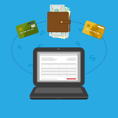 Concept of pay bill tax online account via computer or laptop. Online payment. Laptop with check invoice on the screen. Cash or bank card transfer. Purse with money and credit bank cards. Vector