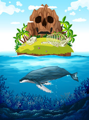 Scene with island and whale underwater