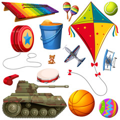 Set of different colorful toys