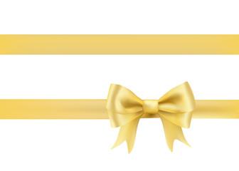 golden bow knot on white. vector