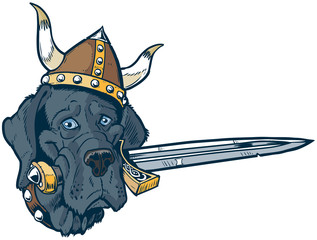 Blue Great Dane cartoon mascot head with viking helmet and sword