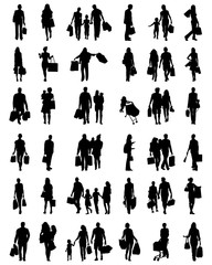 Black silhouettes of people in the shopping, vector