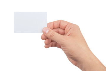 hand of man holding paper card isolated on white background