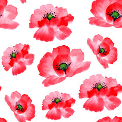 Seamless watercolor hand painted background, pattern. Isolated red poppies.