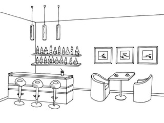 Cafe bar interior graphic art black white sketch illustration vector