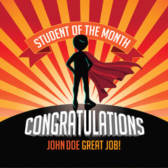 Male Student of the Month superhero burst background. EPS 10 vector.