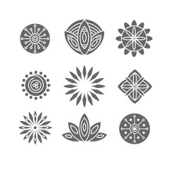 Set of silhouette flower design elements.
