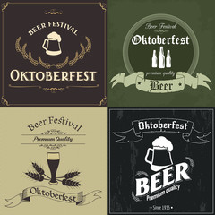 Set of posters for the Oktoberfest in vintage style. Vector