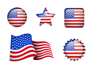Set of American flag on white. Development of the flag, round, square and star-shaped.