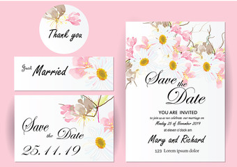 set of flowers   invitation card.in this set is cherry blossom ,cosmos and branch on white card background