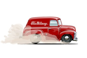 Vector cartoon delivery van. Available eps-10 vector format separated by groups with transparency effects for one-click repaint