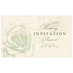 Wedding Invitation card with roses green color.
