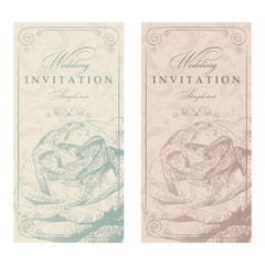 Set of 2 Wedding Invitation cards in an old-style