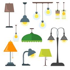 Set of lamps vector.