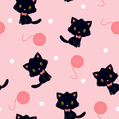 Black kitten with pink knitting yarn seamless pattern