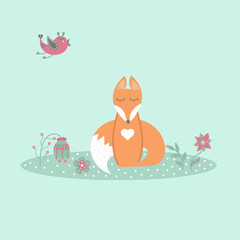 Cute fox sitting on lawn in forest with bird and flowers in cartoon style