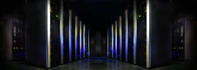 symmetrical futuristic modern server room in the data center with